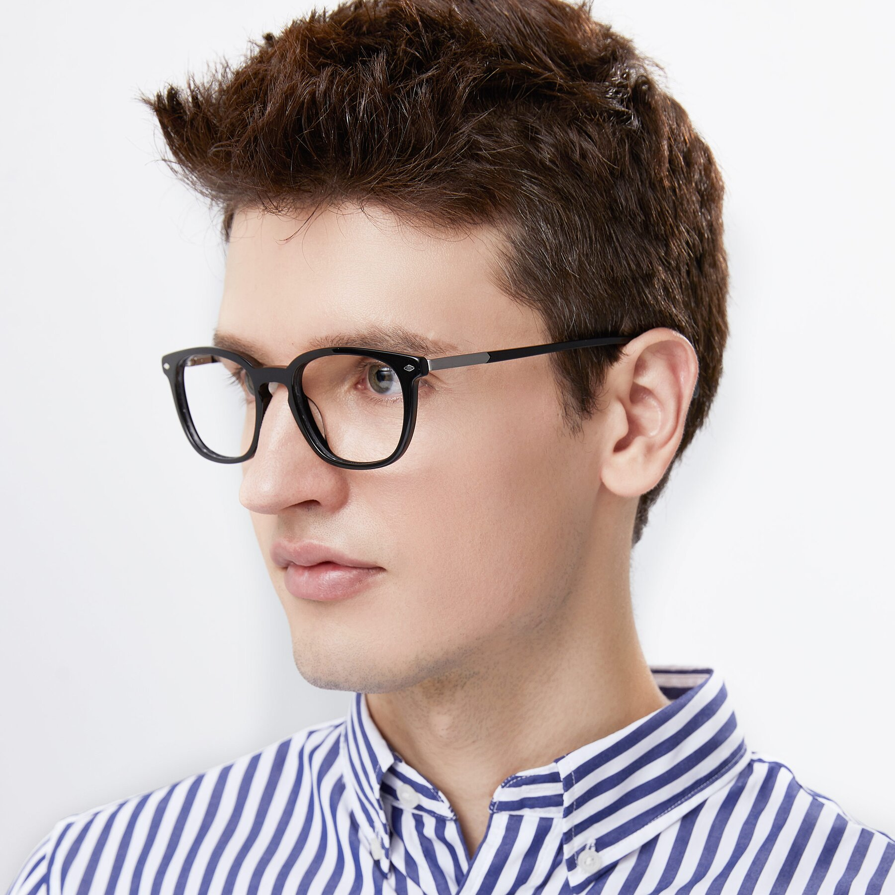 Men's lifestyle photography of 17578 in Black with Clear Blue Light Blocking Lenses