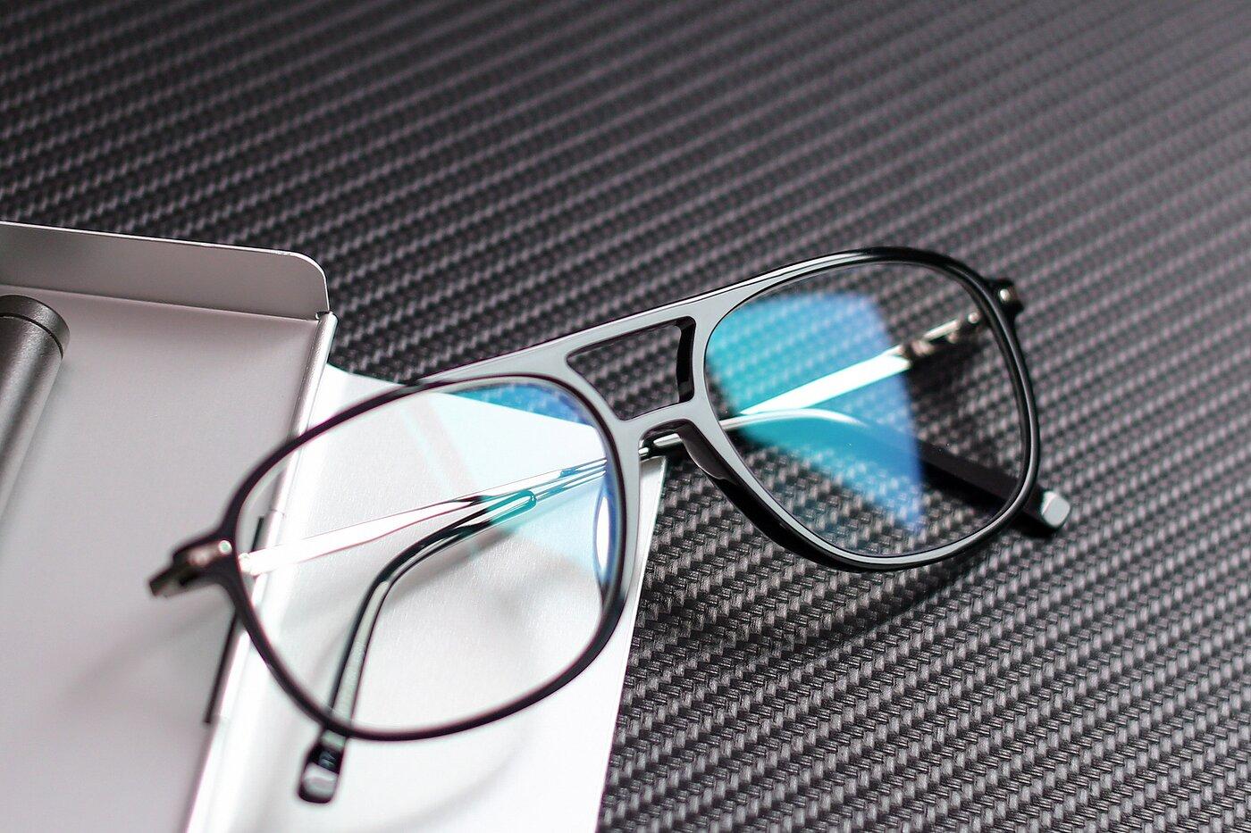 Black Oversized Double Bridge Square Eyeglasses