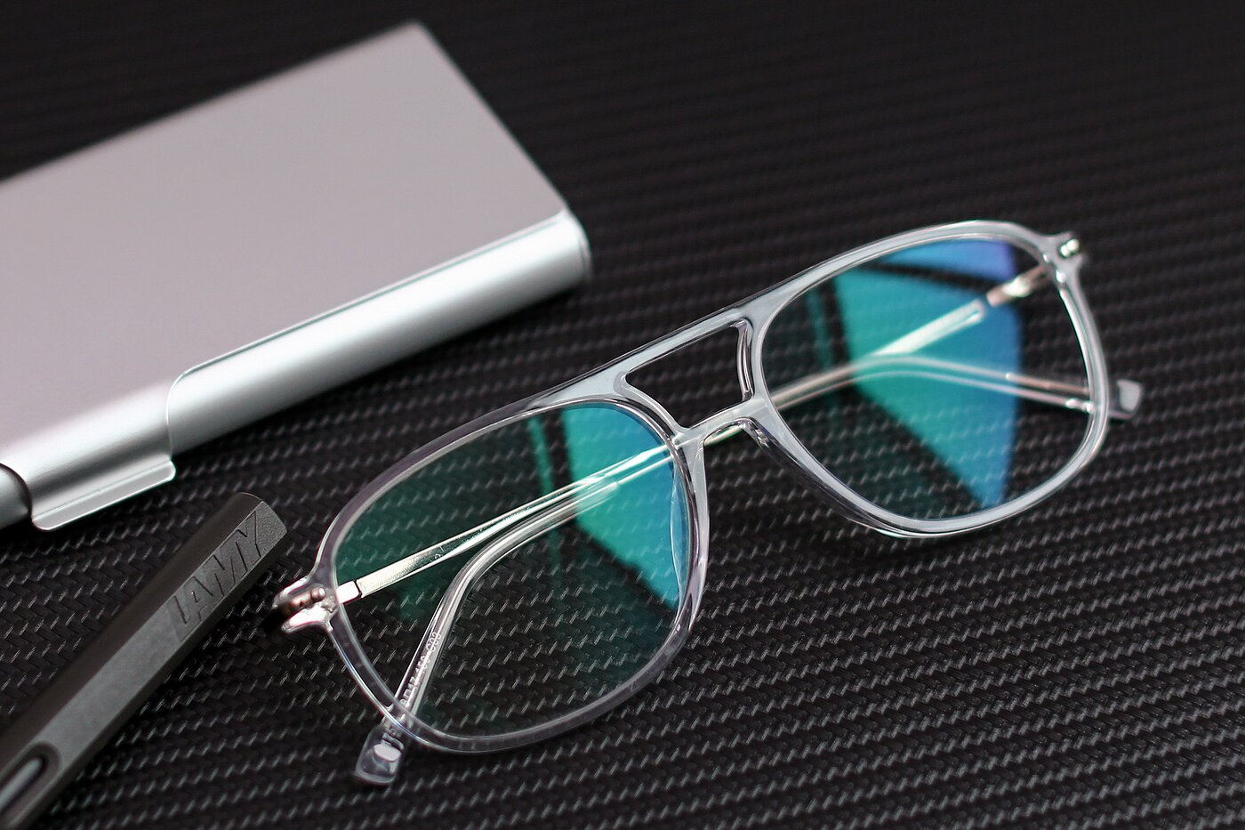 Clear Oversized Double Bridge Square Eyeglasses