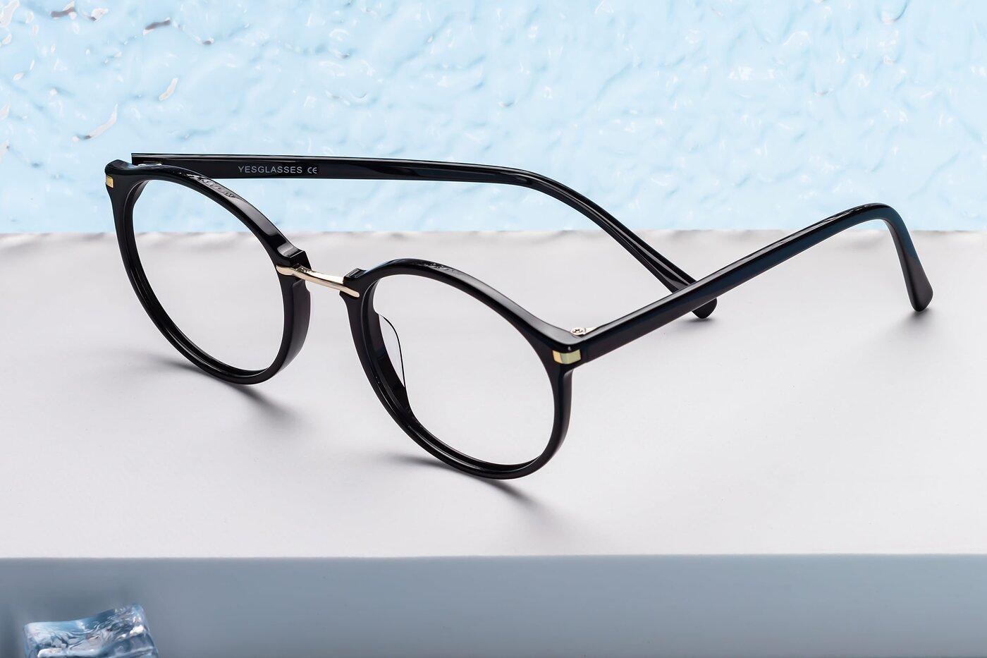 Black Narrow Hipster Round Eyeglasses