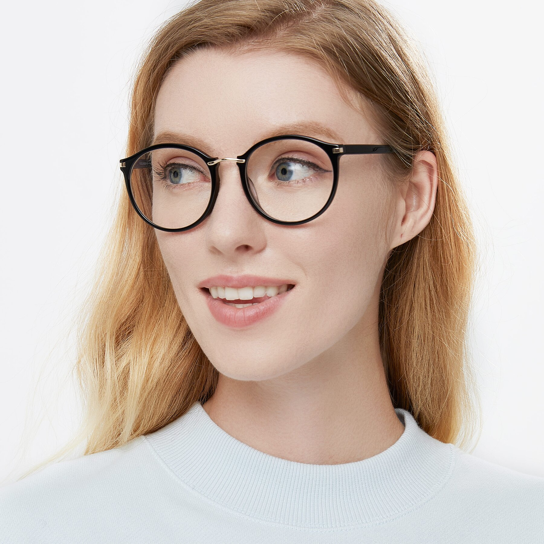 Women's lifestyle photography of Casper in Black with Clear Eyeglass Lenses