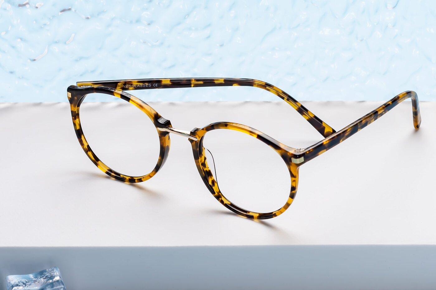 Tortoise Narrow Hipster Round Eyeglasses