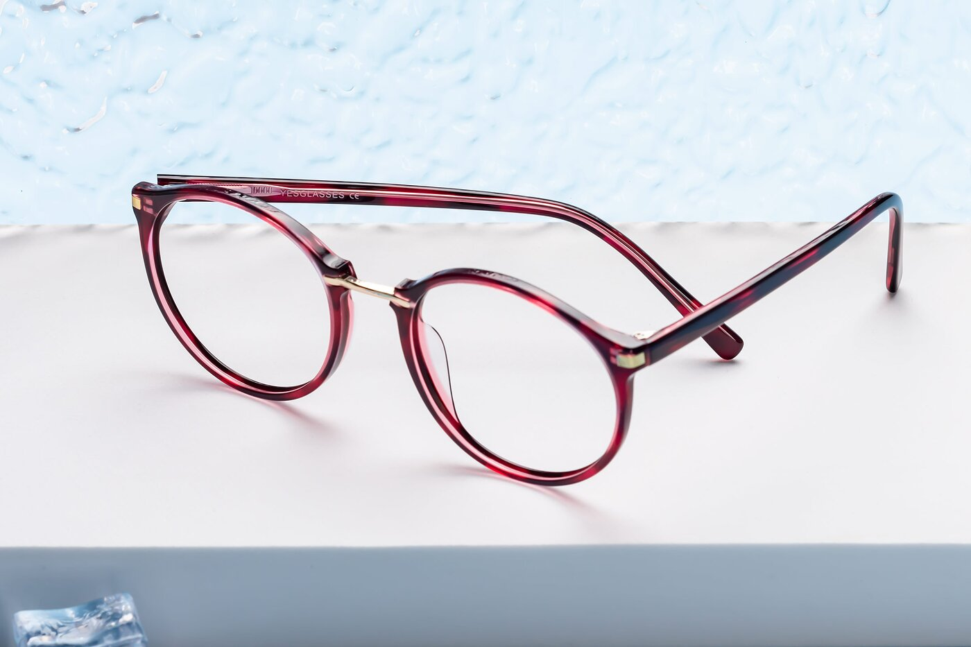 Wine Narrow Hipster Round Eyeglasses