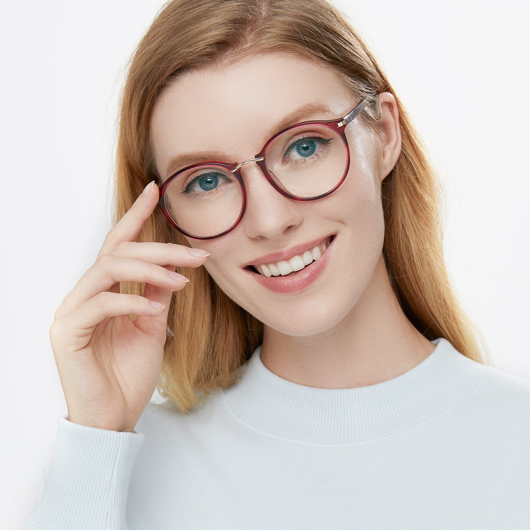 Women's lifestyle photography of Casper in Wine with Clear Eyeglass Lenses