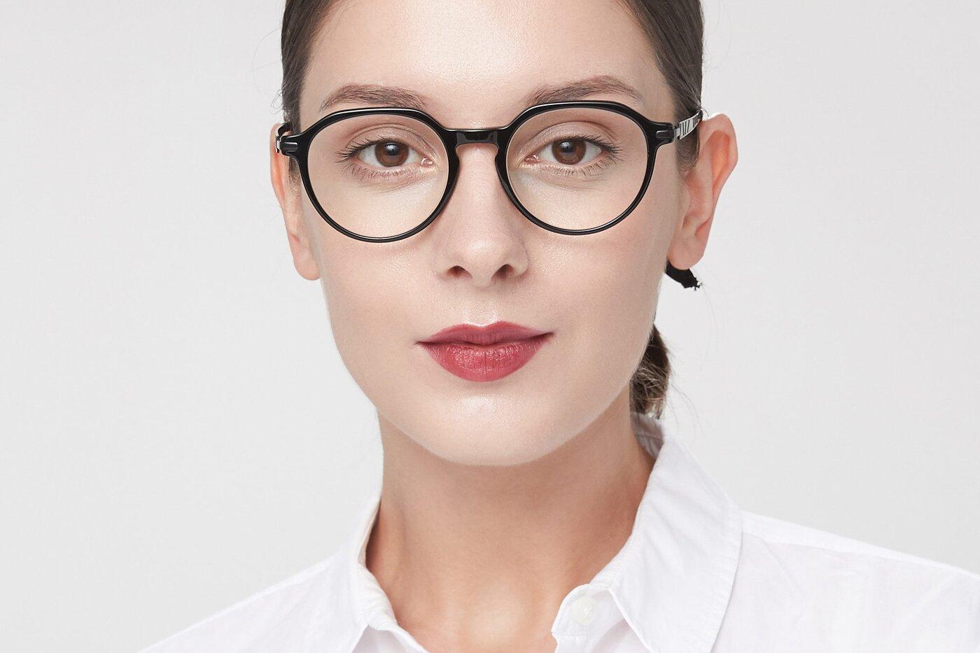 Black Hipster Acetate Geometric Eyeglasses