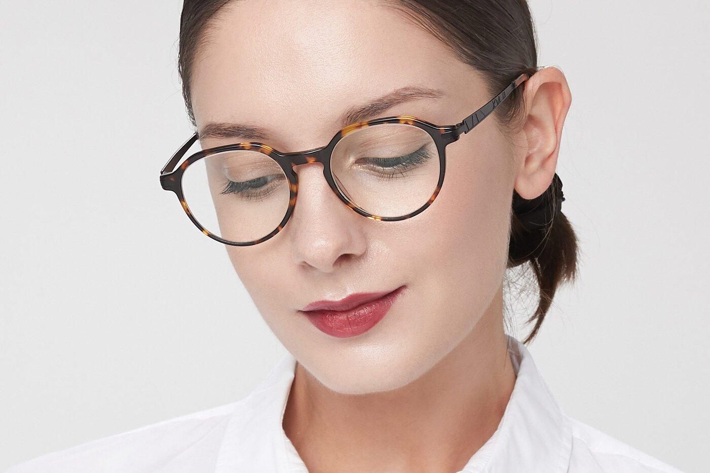 Tortoise Hipster Acetate Geometric Eyeglasses