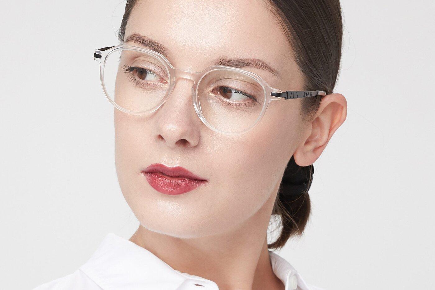Clear Hipster Acetate Geometric Eyeglasses