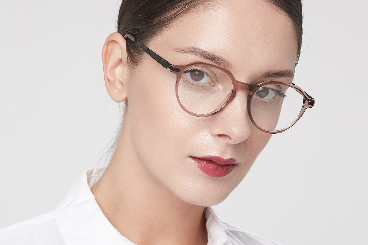 Clear Caramel Hipster Acetate Geometric Eyeglasses