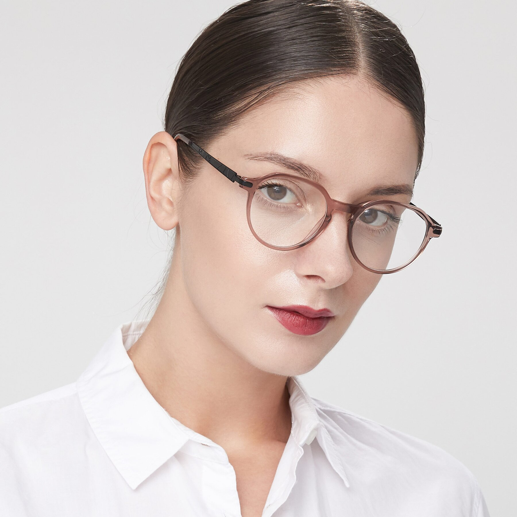 Women's lifestyle photography of 17643 in Clear Caramel with Clear Eyeglass Lenses