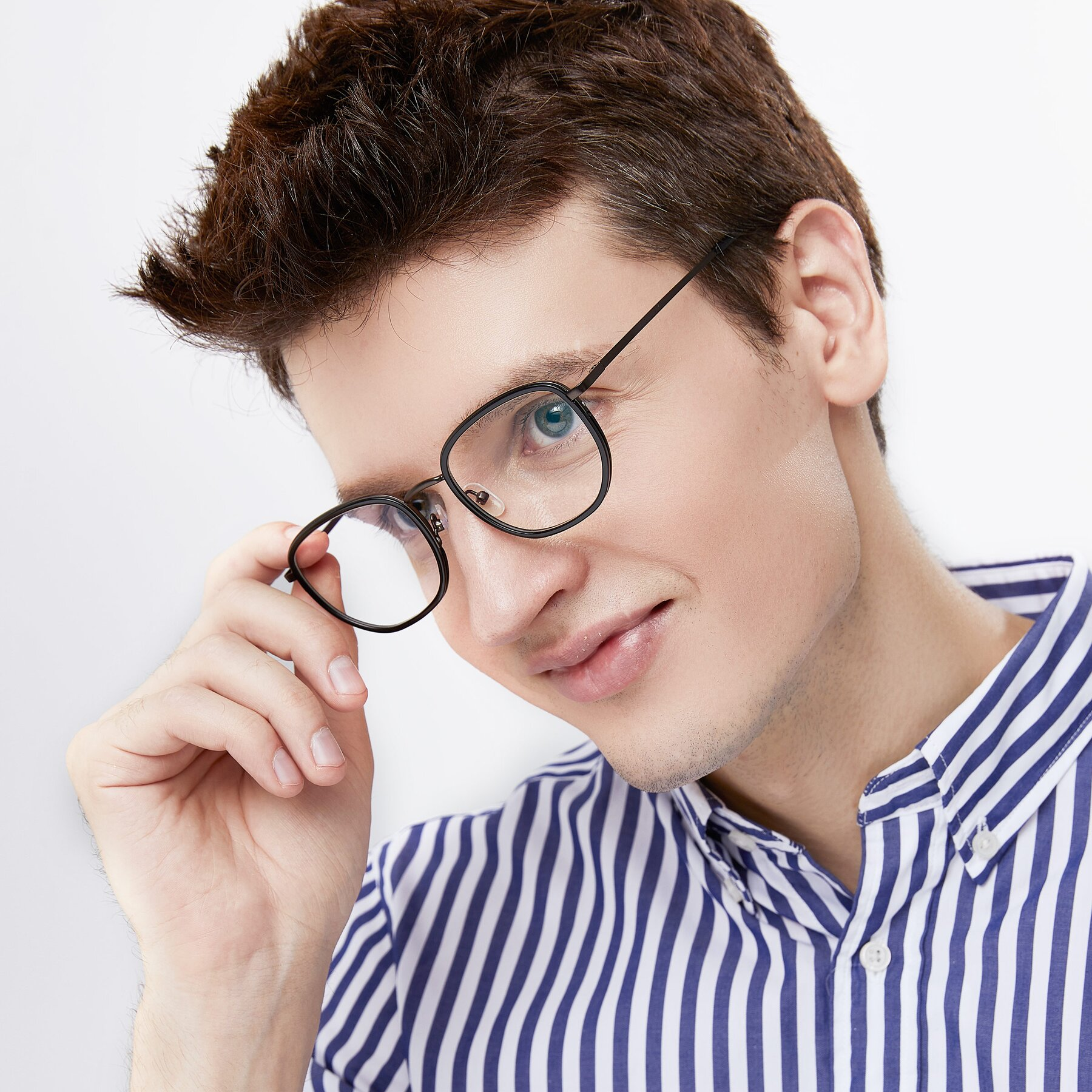 Men's lifestyle photography of 17702 in Black-Bronze with Clear Blue Light Blocking Lenses