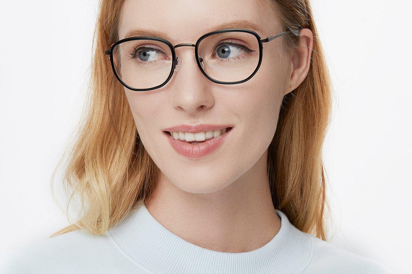Black-Bronze Hipster Metal Bridge Geometric Eyeglasses