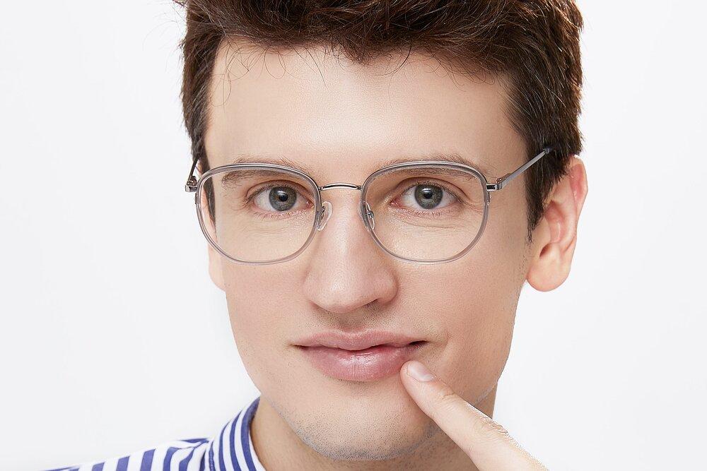 Silver-Transparent Hipster Metal Bridge Geometric Eyeglasses
