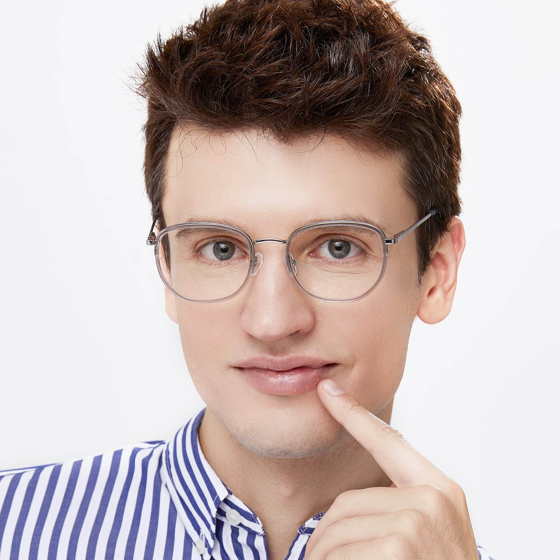 Men's lifestyle photography of 17702 in Silver-Transparent with Clear Eyeglass Lenses