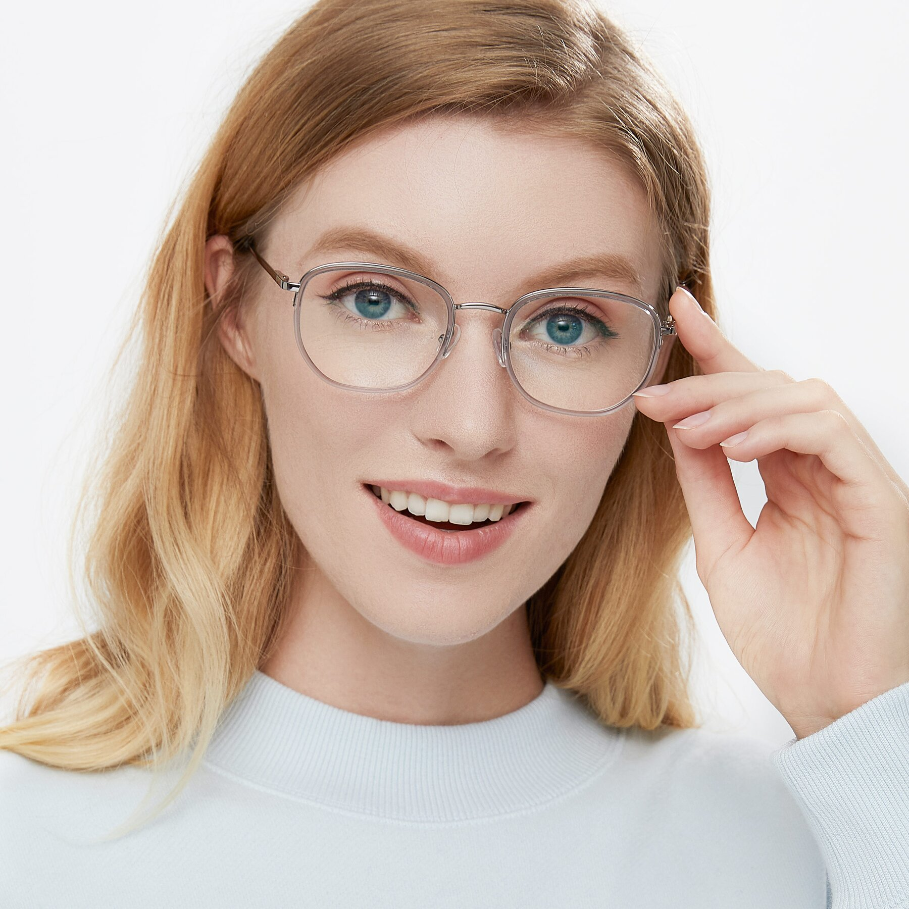 Women's lifestyle photography of 17702 in Silver-Transparent with Clear Eyeglass Lenses