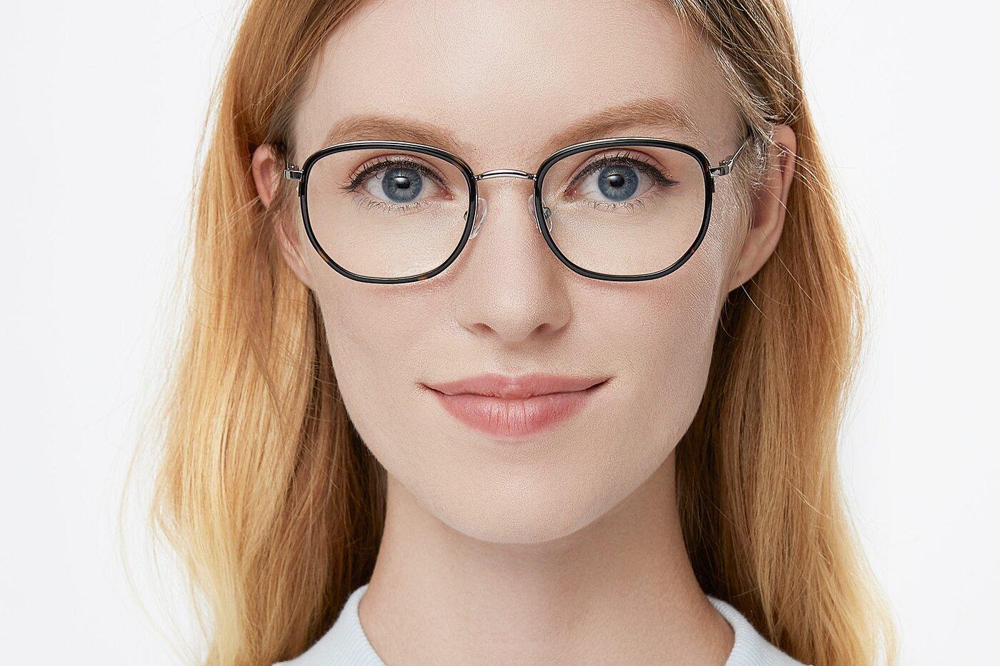 Sliver-Tortoise Hipster Metal Bridge Geometric Eyeglasses
