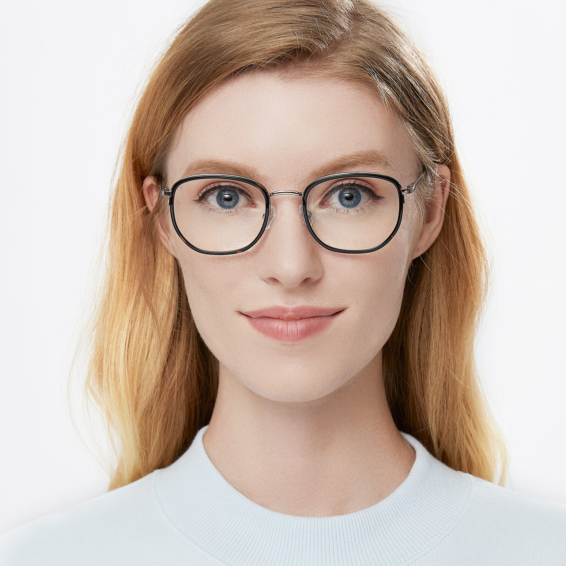 Women's lifestyle photography of 17702 in Sliver-Tortoise with Clear Eyeglass Lenses