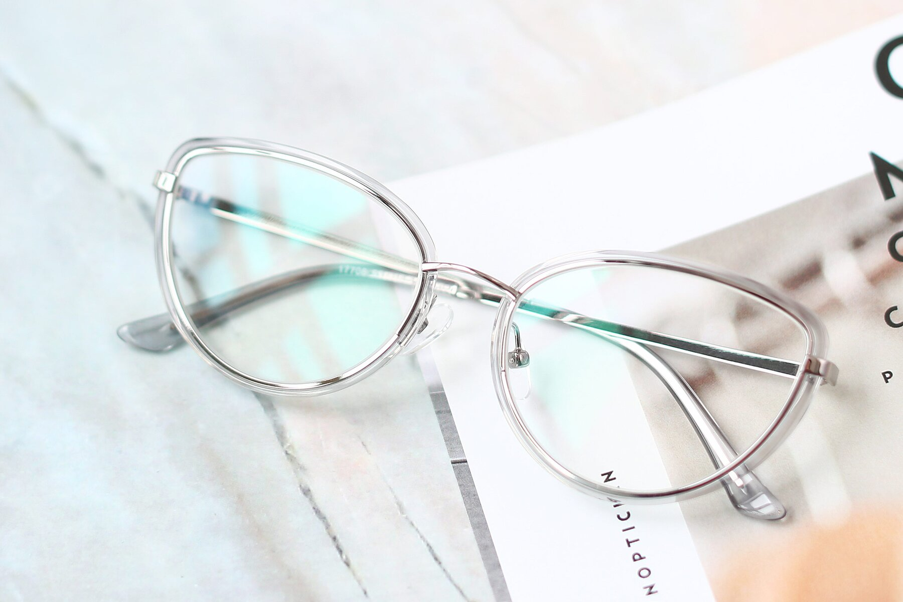 Women's lifestyle photography #1 of 17706 in Transparent Grey-Silver with Clear Blue Light Blocking Lenses