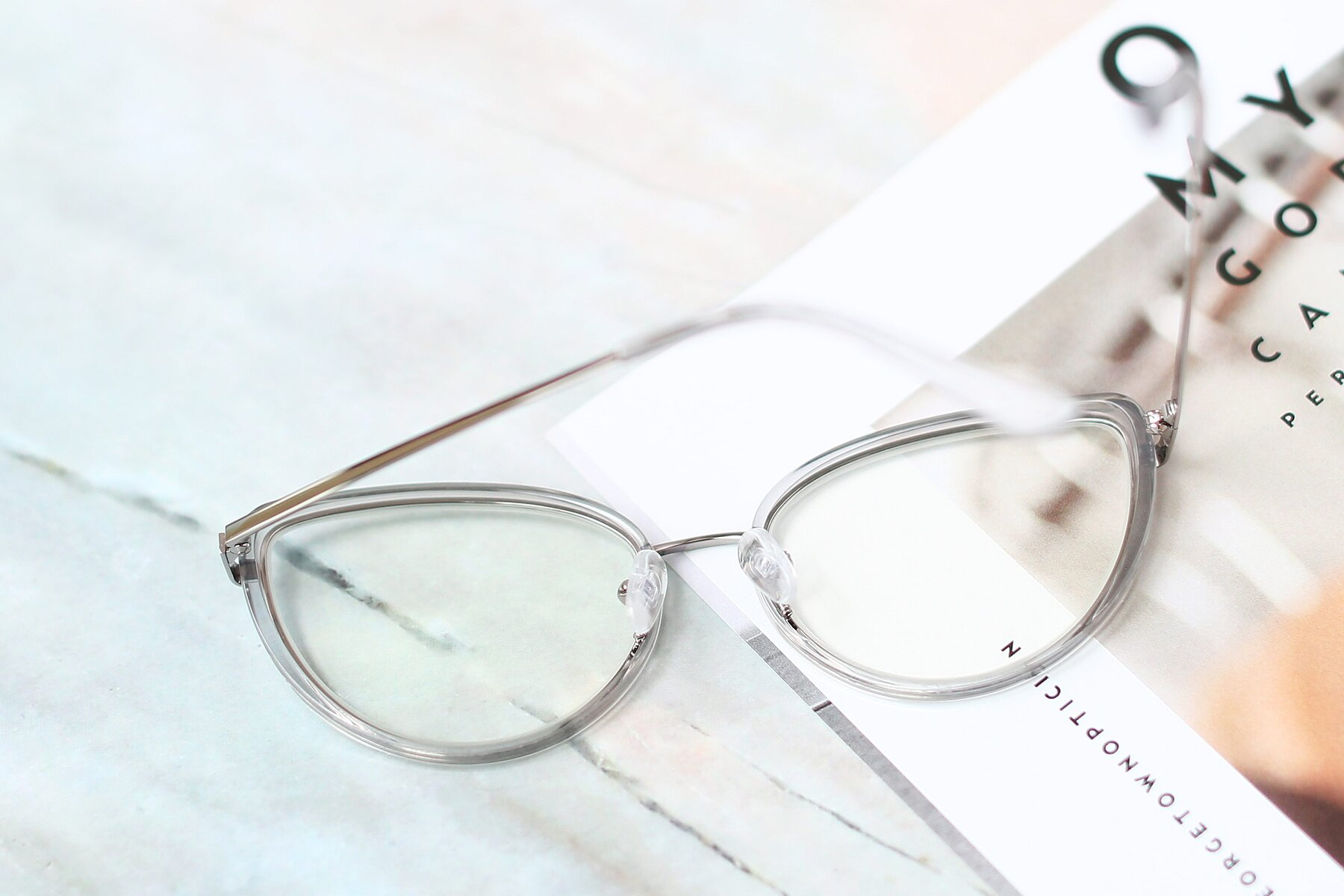 Women's lifestyle photography #2 of 17706 in Transparent Grey-Silver with Clear Eyeglass Lenses