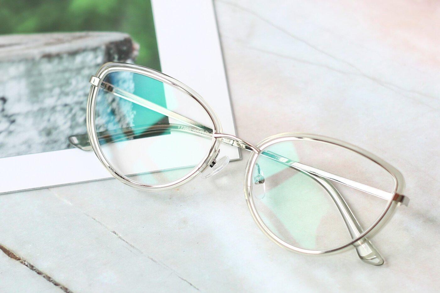 Transparent Green-Silver Retro-Vintage Metal Bridge Cat-Eye Eyeglasses