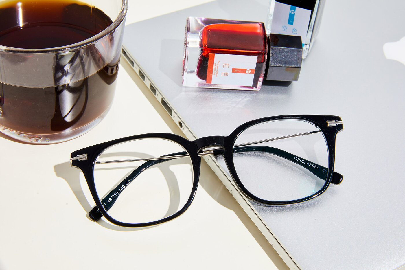 Black Oversized Keyhole Bridge Square Eyeglasses