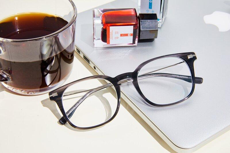 Grey Oversized Keyhole Bridge Square Eyeglasses