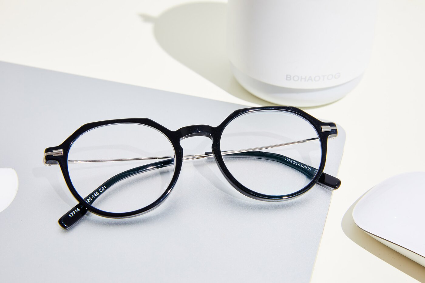 Black Geek-Chic Acetate Geometric Eyeglasses