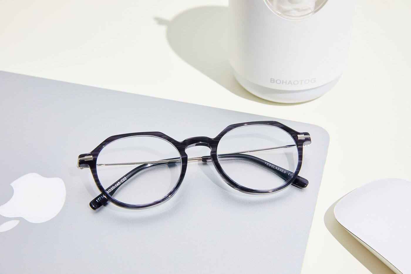 Stripe Grey Geek-Chic Acetate Geometric Eyeglasses
