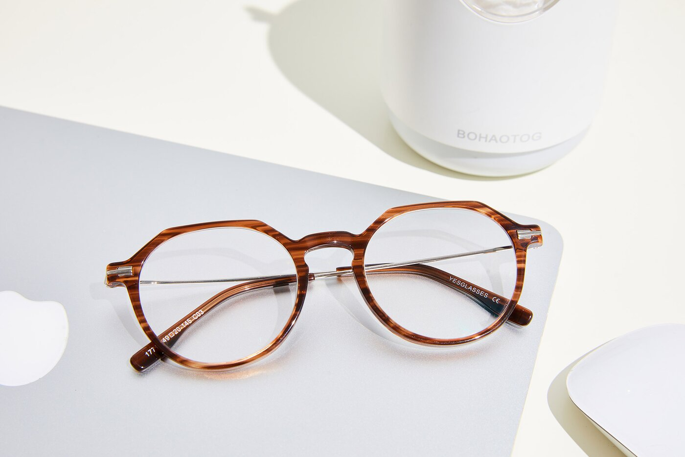 Stripe Brown Geek-Chic Acetate Geometric Eyeglasses