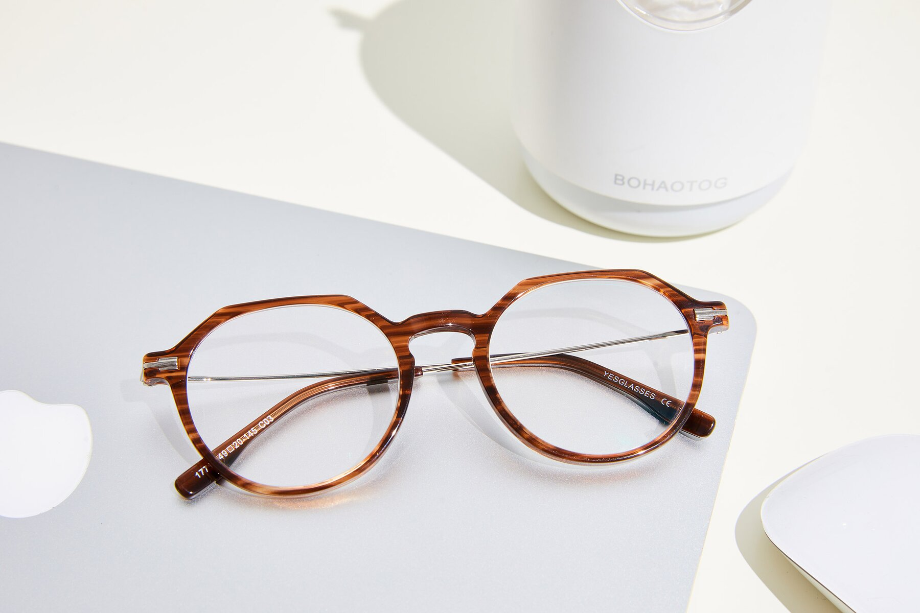 Lifestyle photography #1 of 17714 in Stripe Brown with Clear Eyeglass Lenses