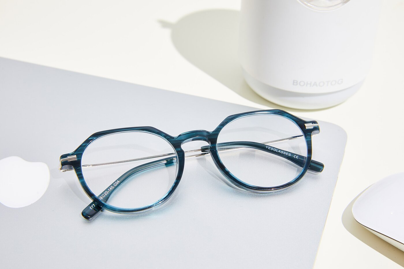 Stripe Blue Geek-Chic Acetate Geometric Eyeglasses