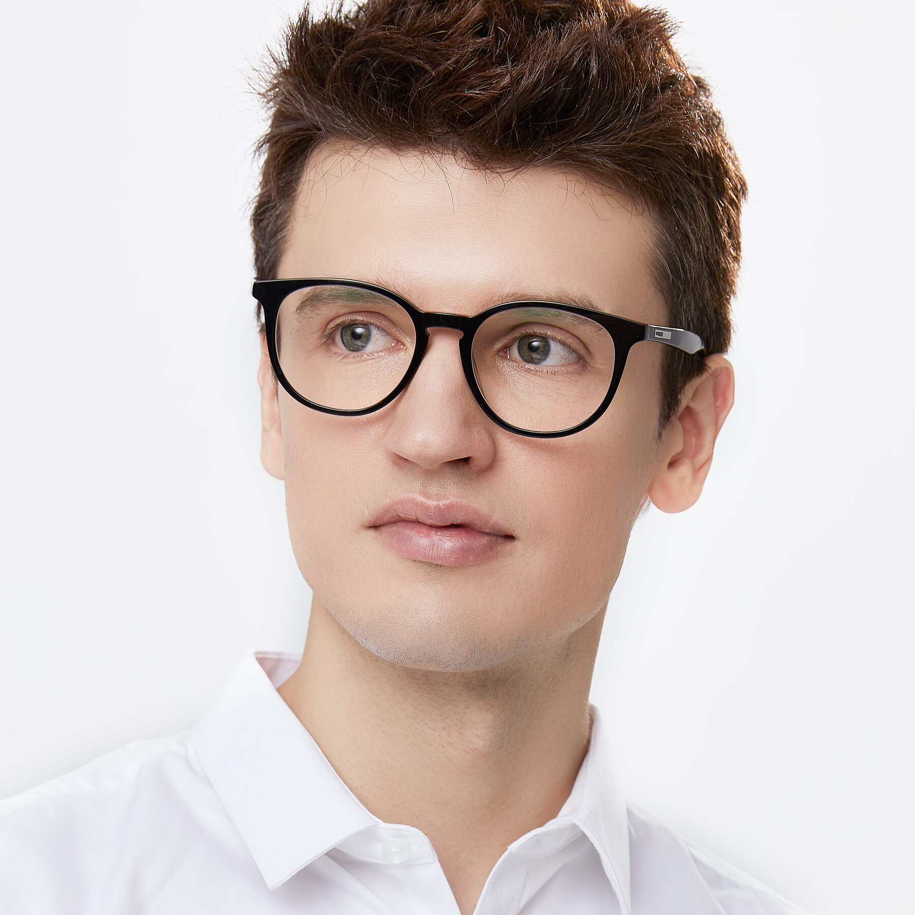 Men's lifestyle photography of 17721 in Black with Clear Eyeglass Lenses