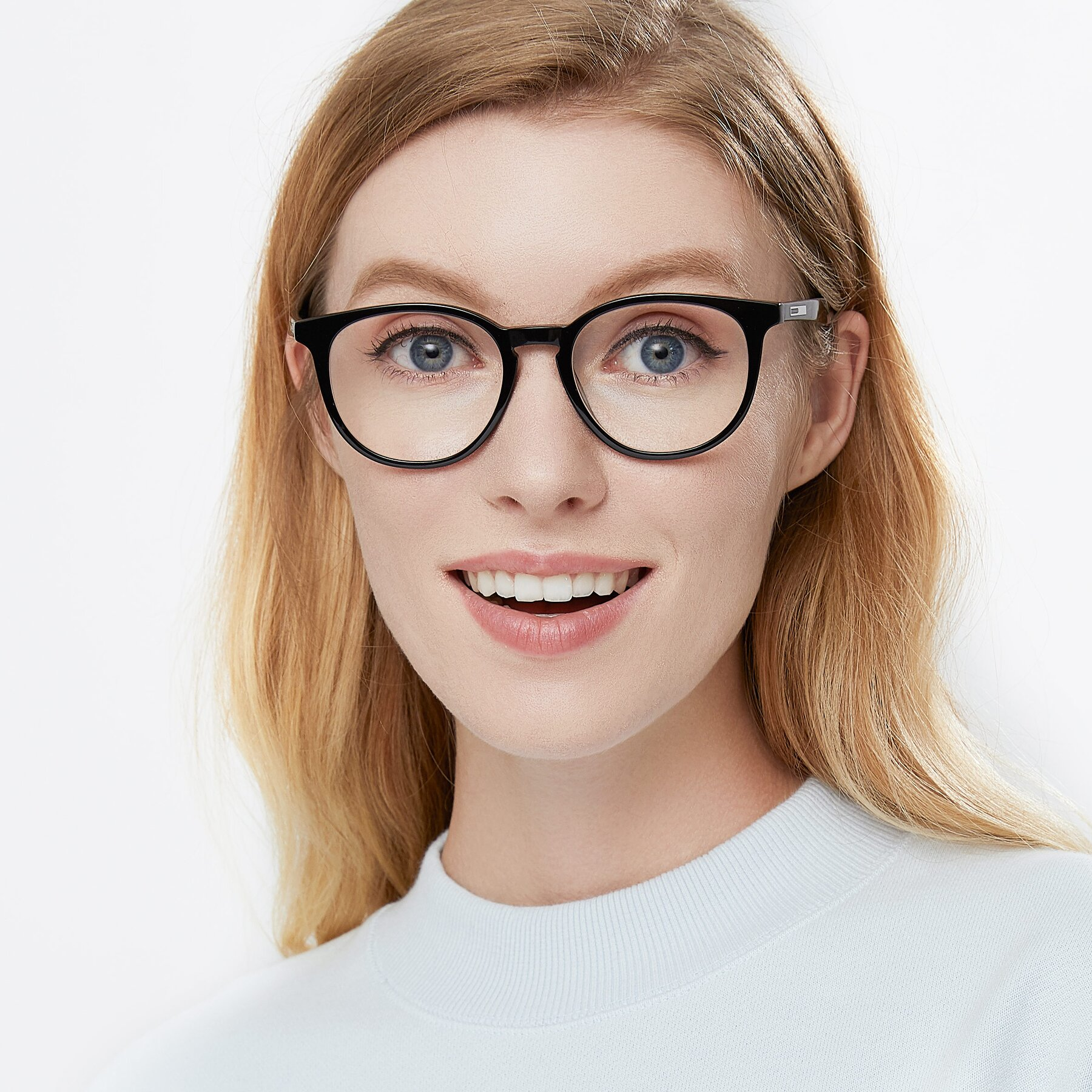 Women's lifestyle photography of 17721 in Black with Clear Eyeglass Lenses