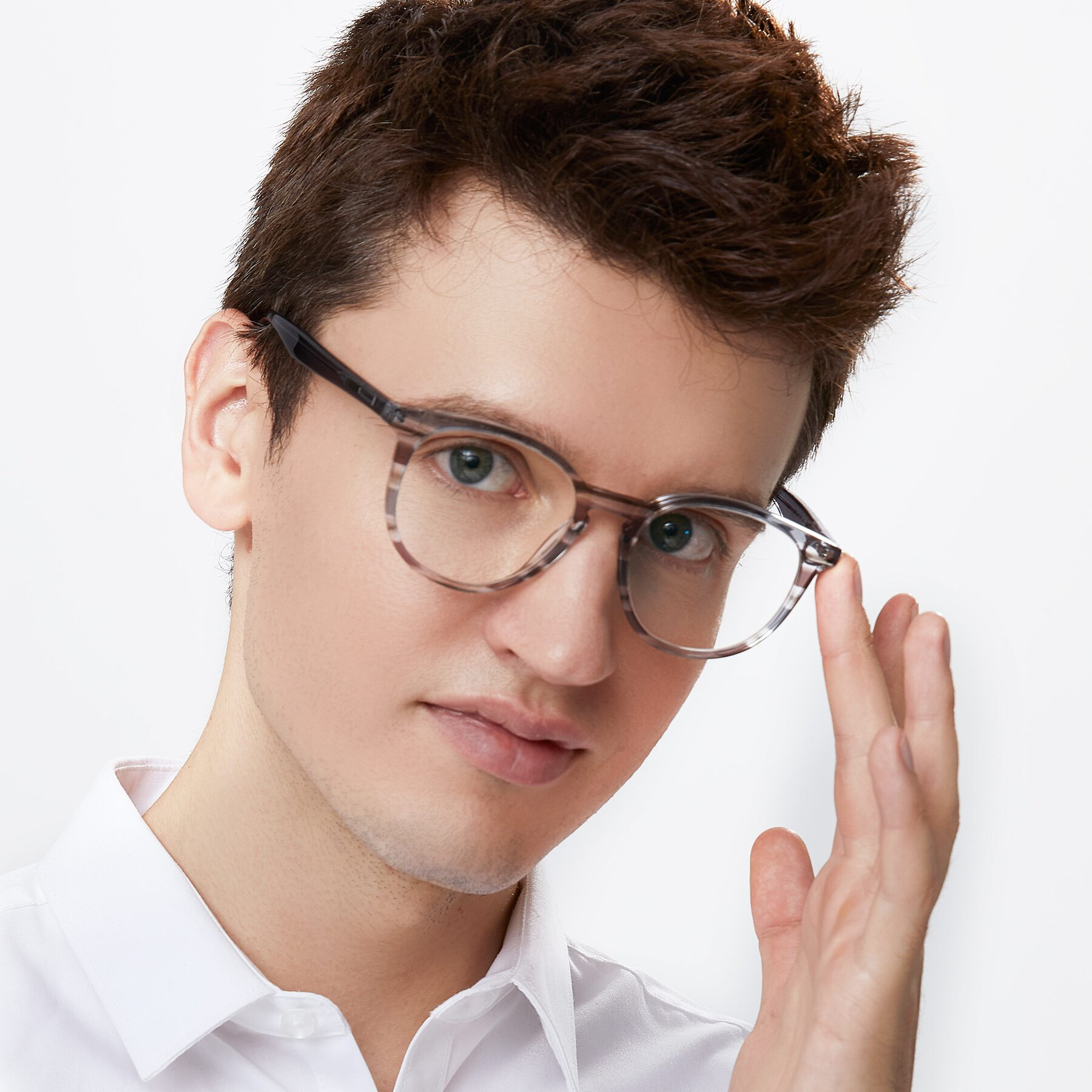 Men's lifestyle photography of 17721 in Stripe Grey with Clear Eyeglass Lenses