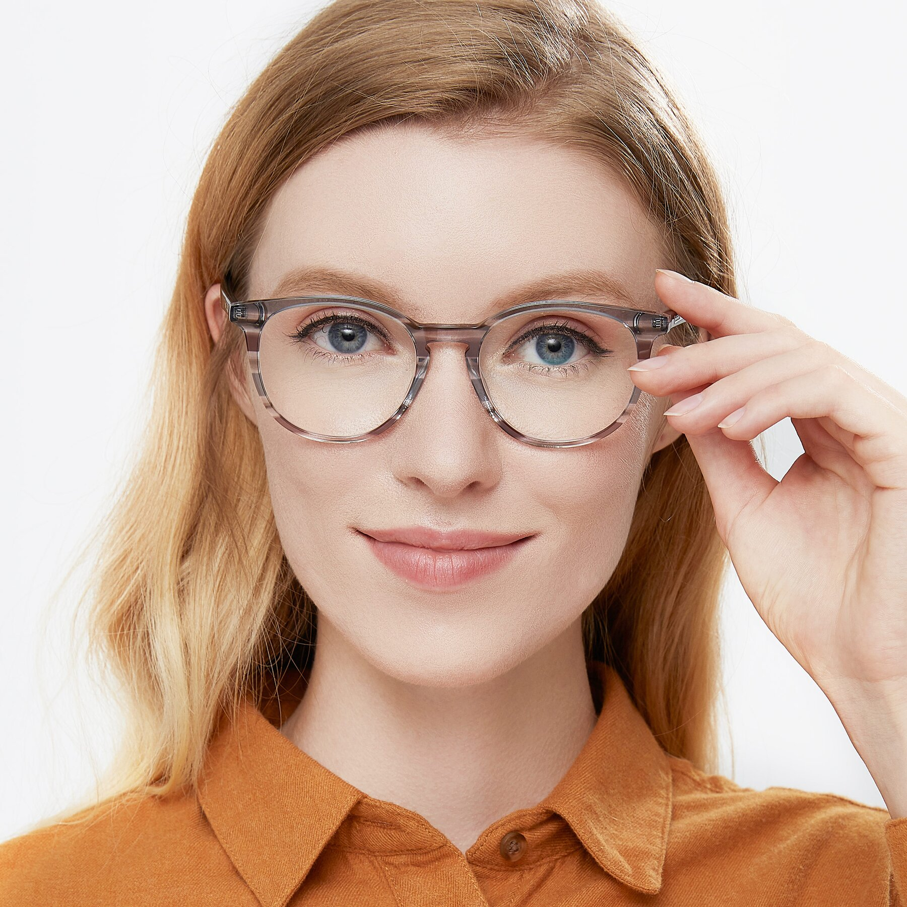 Women's lifestyle photography of 17721 in Stripe Grey with Clear Blue Light Blocking Lenses