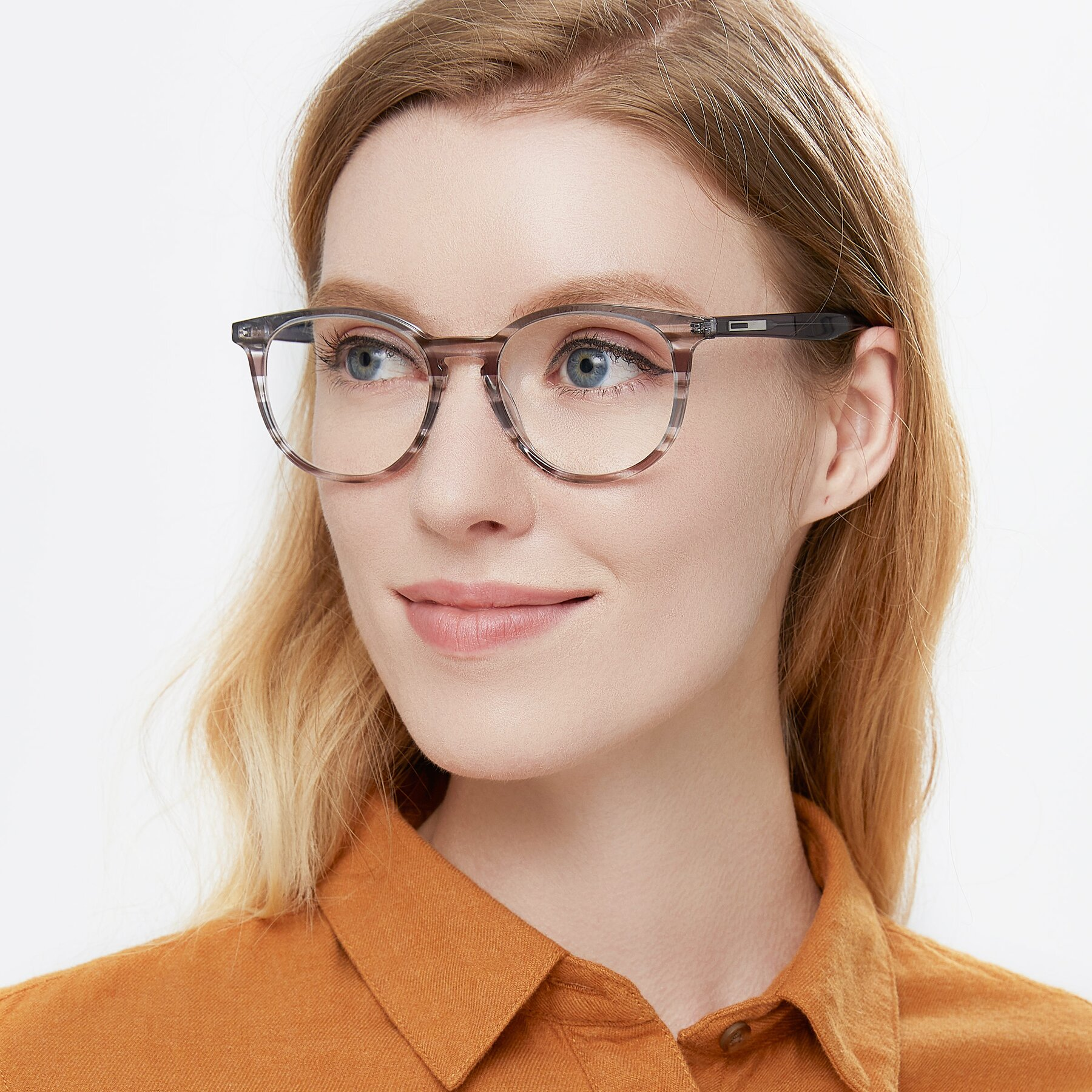 Women's lifestyle photography of 17721 in Stripe Grey with Clear Eyeglass Lenses
