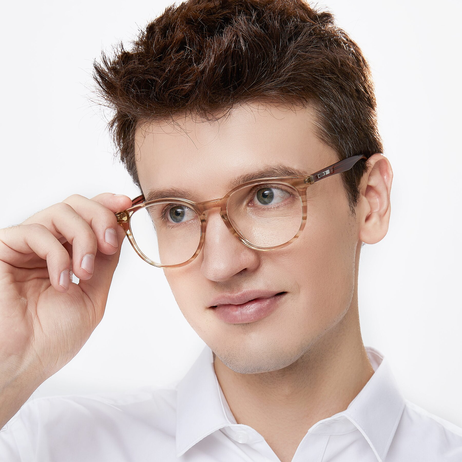 Men's lifestyle photography of 17721 in Stripe Caramel with Clear Blue Light Blocking Lenses