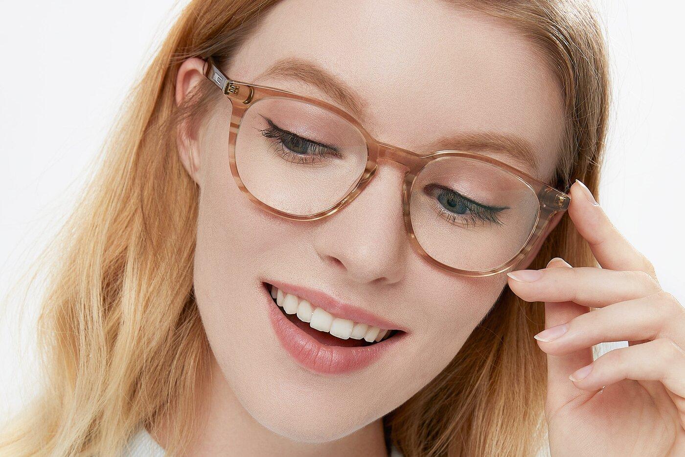 Stripe Caramel Wayfarer Horn-Rimmed Acetate Eyeglasses