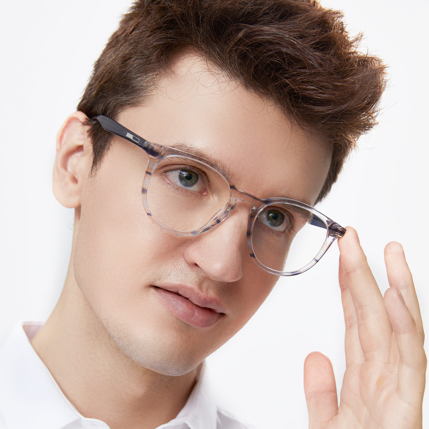 Men's lifestyle photography of 17721 in Stripe Blue with Clear Eyeglass Lenses