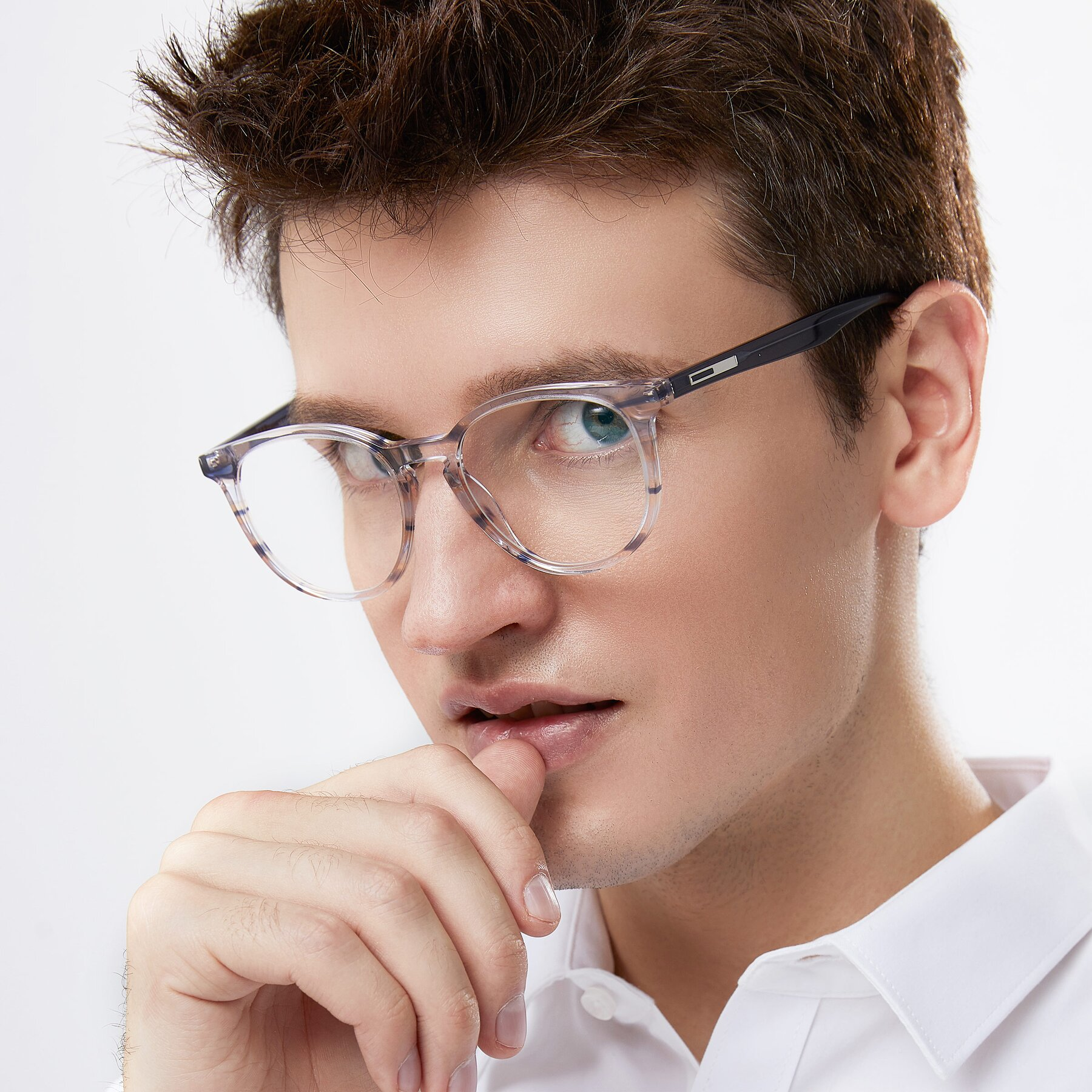 Men's lifestyle photography of 17721 in Stripe Blue with Clear Blue Light Blocking Lenses
