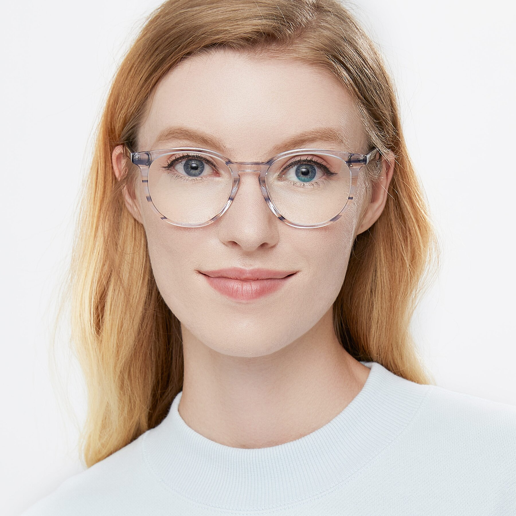 Women's lifestyle photography of 17721 in Stripe Blue with Clear Eyeglass Lenses