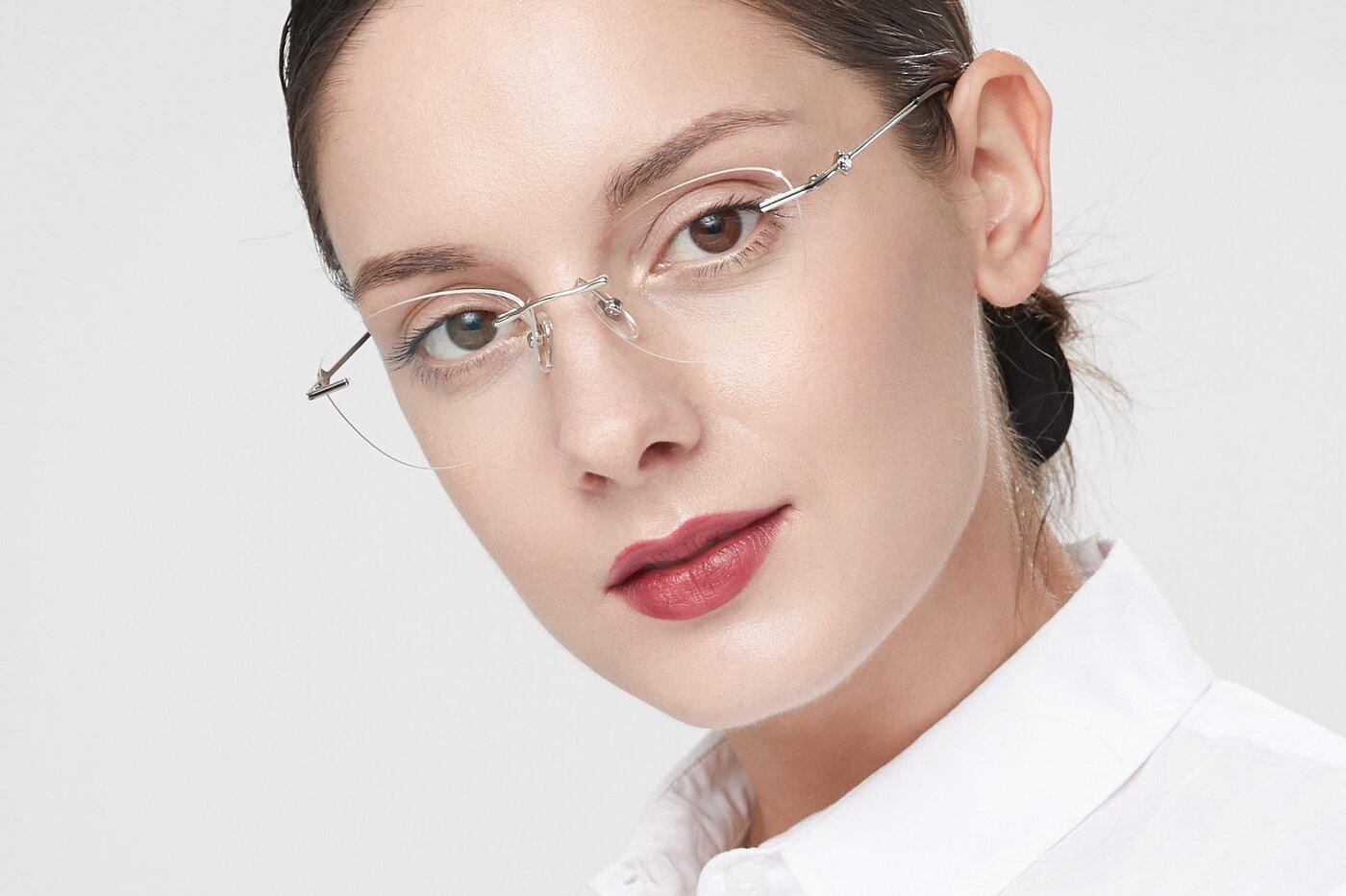 Silver Narrow Cat-Eye Rimless Eyeglasses