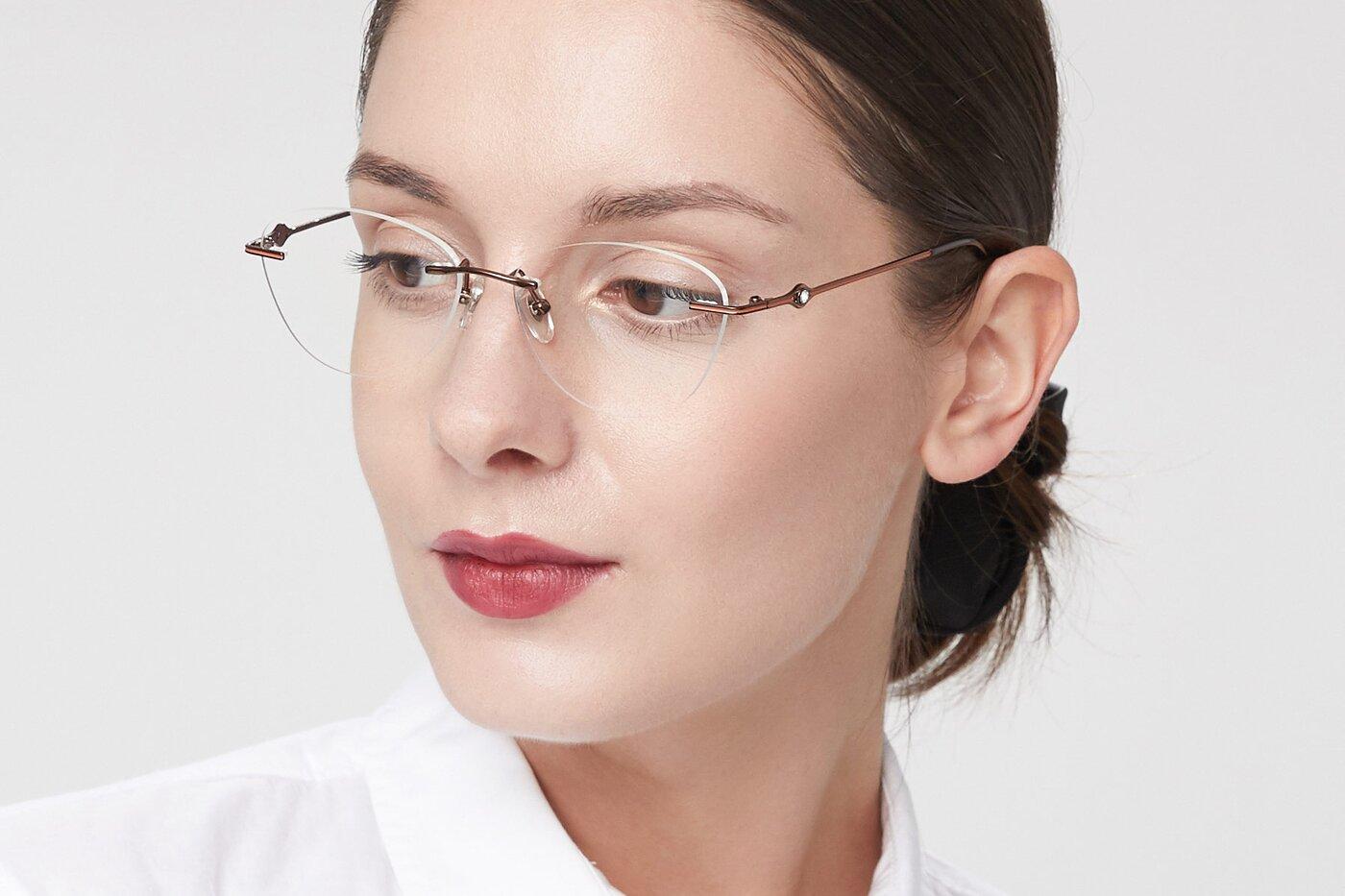 Bronze Narrow Cat-Eye Rimless Eyeglasses