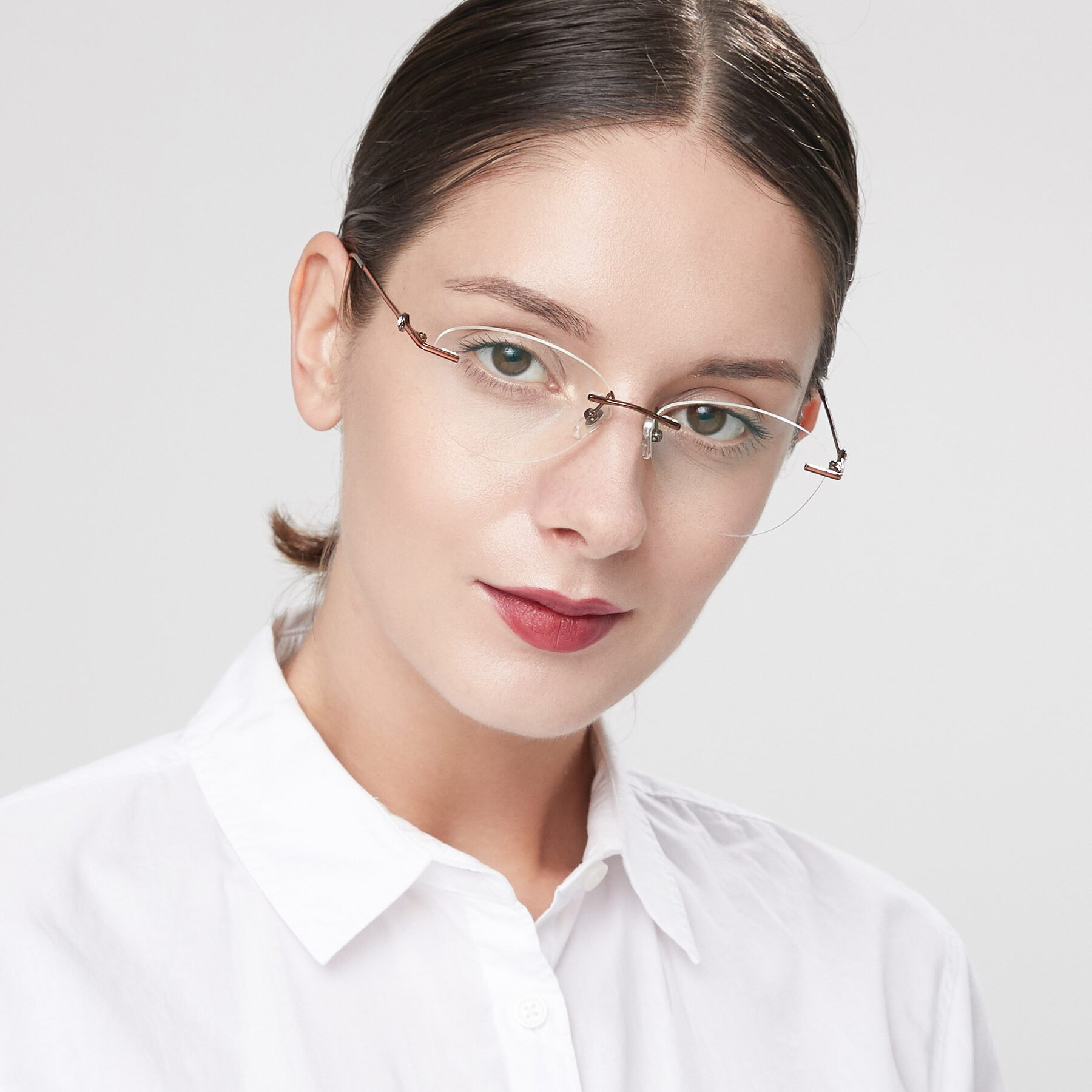 Women's lifestyle photography of 19005 in Bronze with Clear Eyeglass Lenses