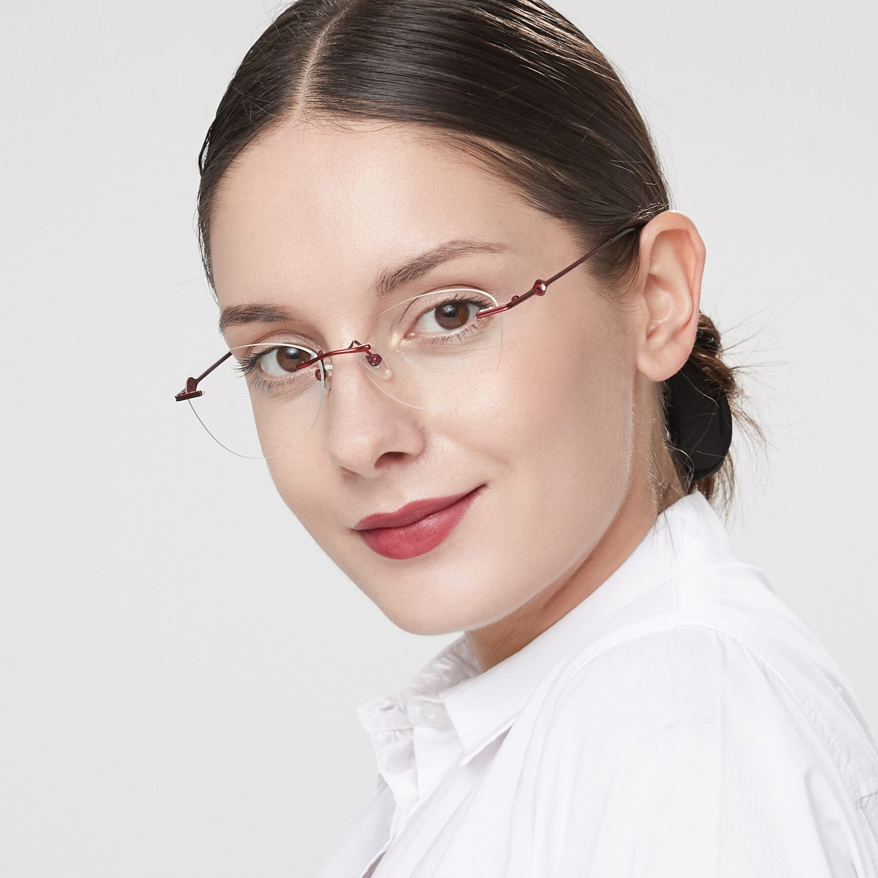 Women's lifestyle photography of 19005 in Wine with Clear Eyeglass Lenses