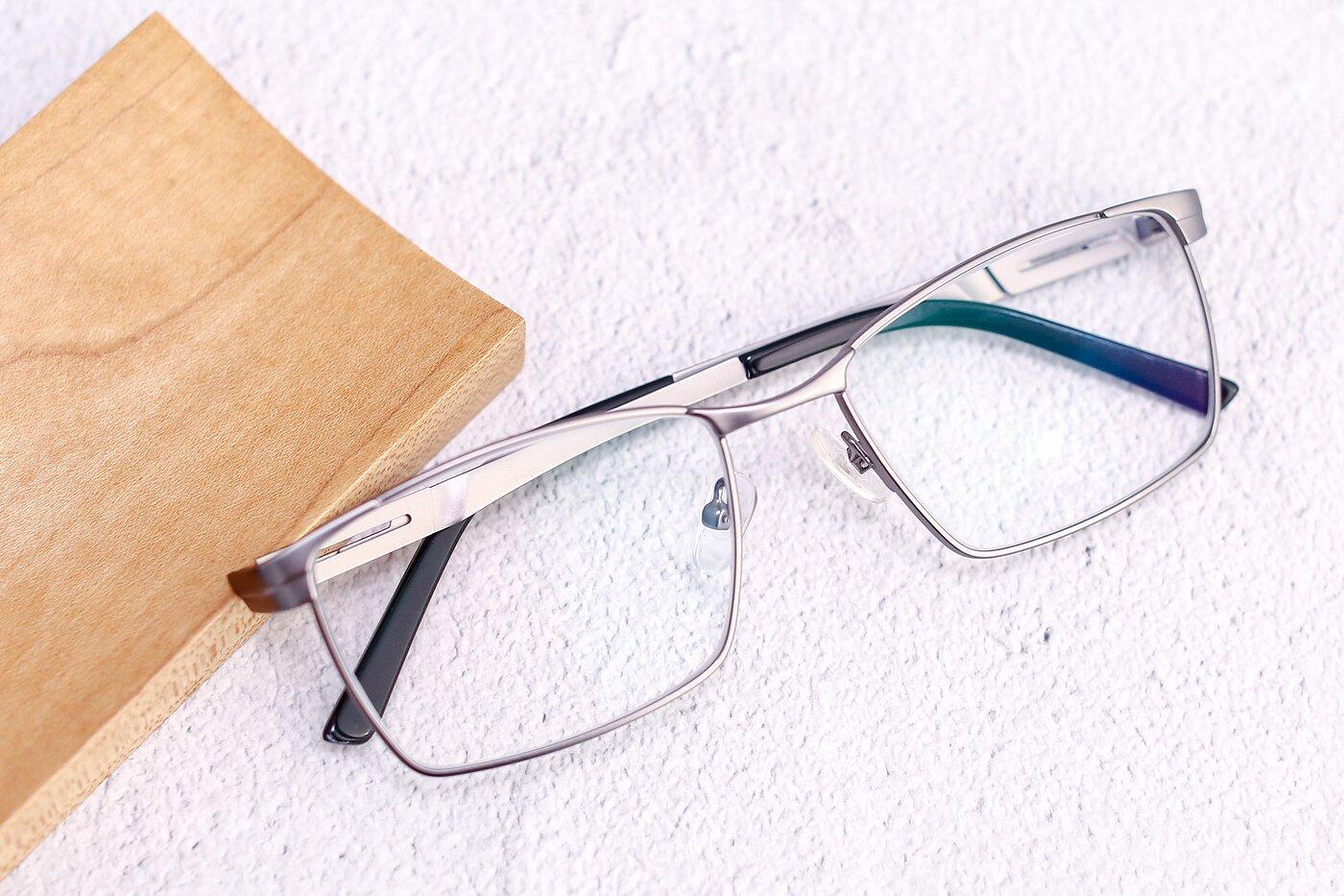 Grey Grandpa Metal Rectangle Eyeglasses