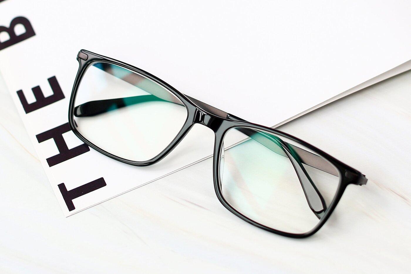 Black Wide Flexible Rectangle Eyeglasses