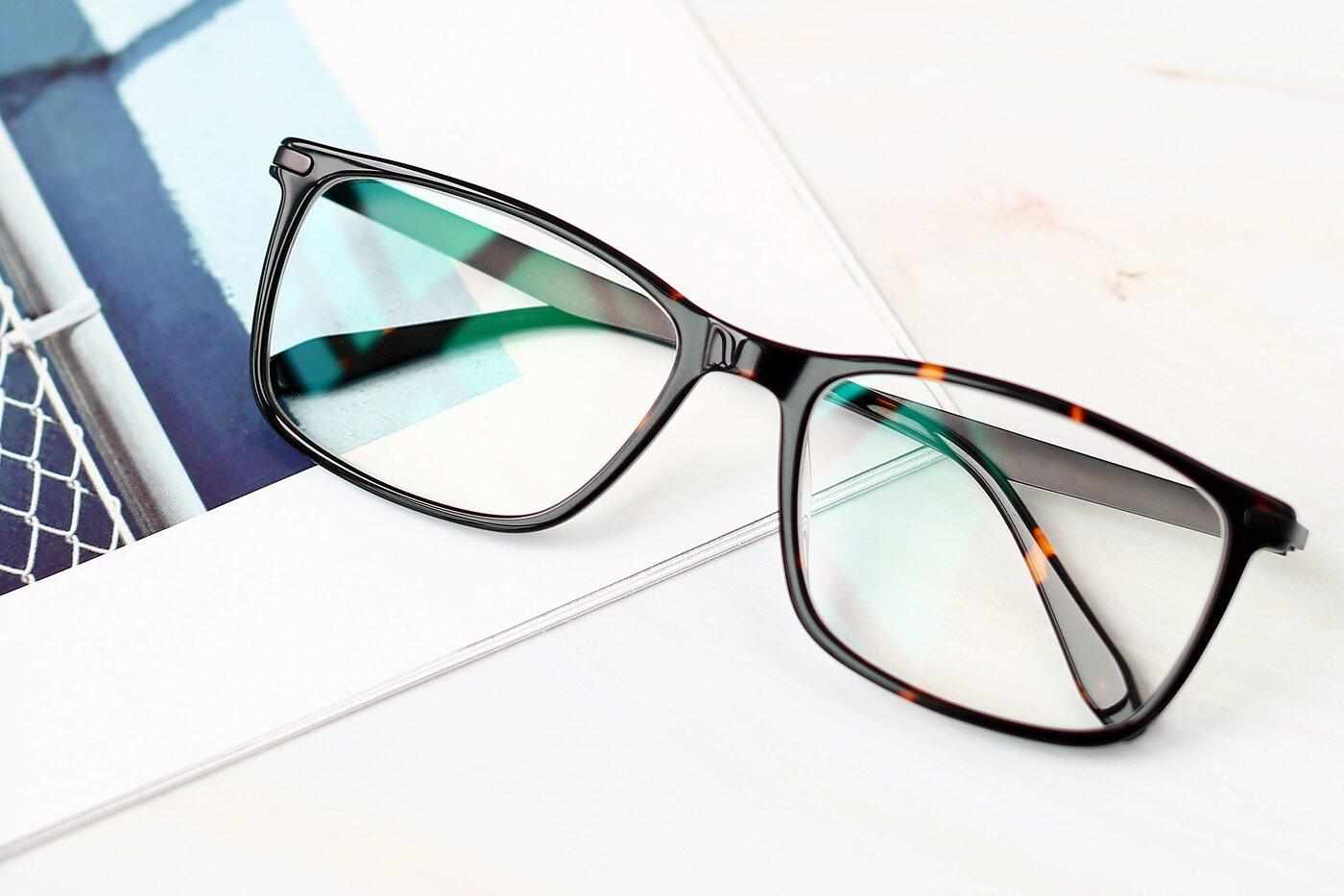 Tortoise Wide Flexible Rectangle Eyeglasses