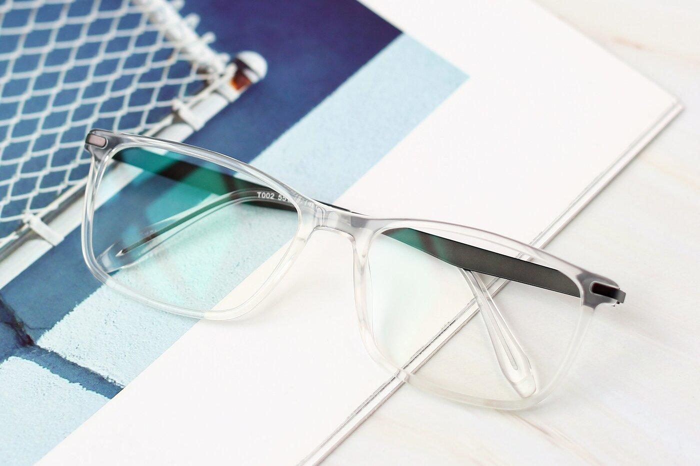 Clear Wide Flexible Rectangle Eyeglasses