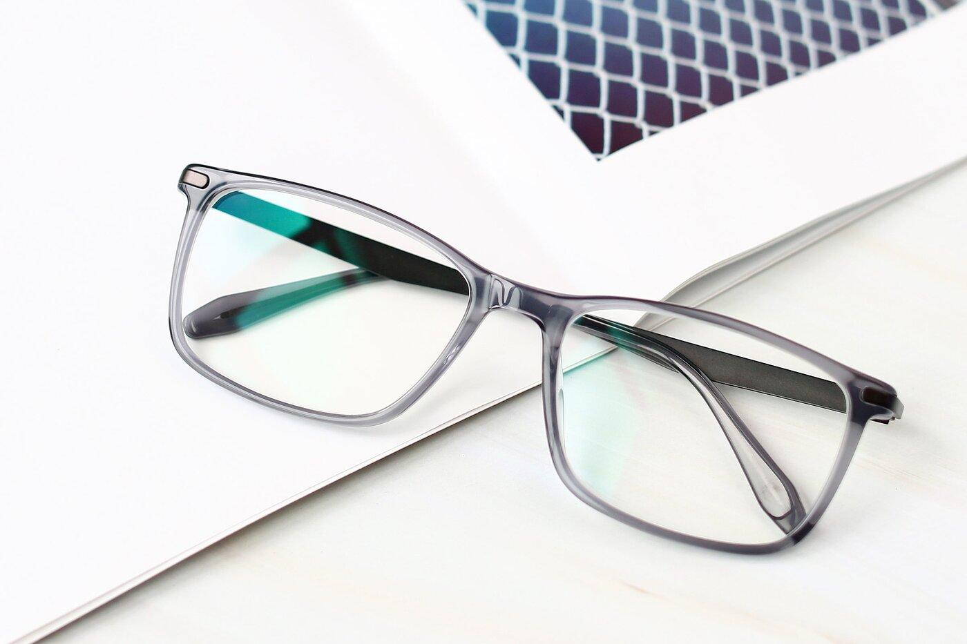 Transparent Grey Wide Lightweight Rectangle Eyeglasses