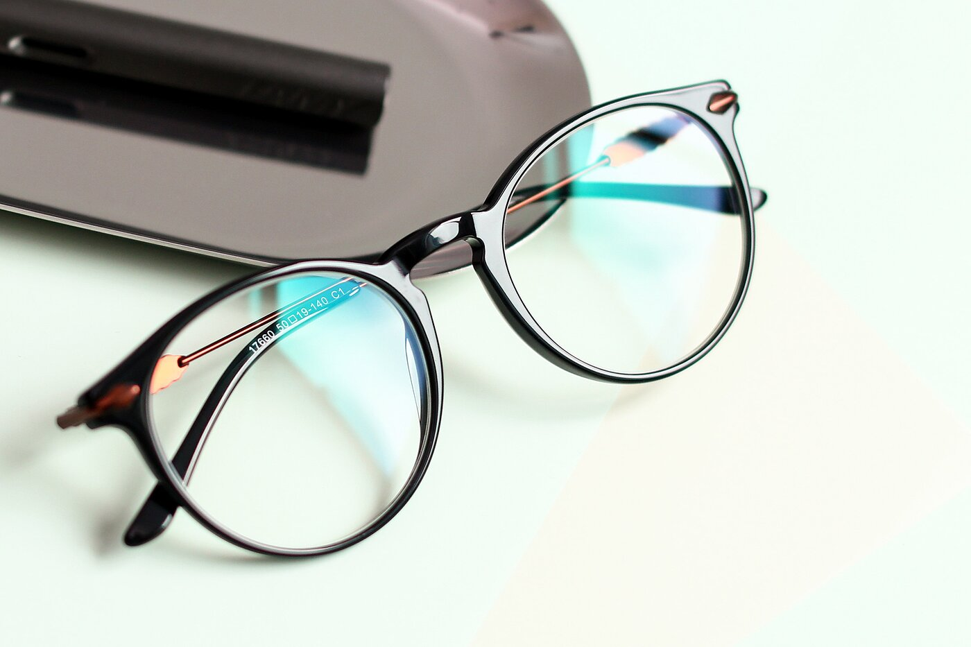 Black Wayfarer Geek-Chic Keyhole Bridge Eyeglasses